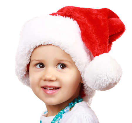 Baby in Santa Claus hat on white background  Stock Photo - 11563138