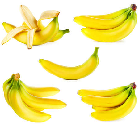 banana skin: Ripe bananas set isolated on white background  Stock Photo
