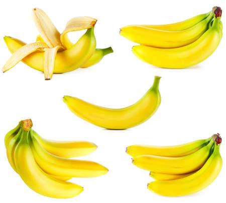 Ripe bananas set isolated on white background  Stock Photo