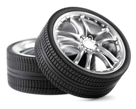 Car wheels on white background. Stock Photo - 12207678