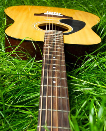Acoustic guitar in green grass  photo