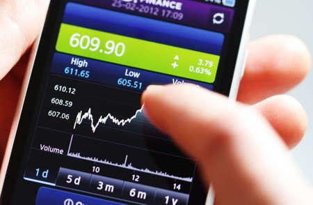 Stock diagram on the screen smartphone. photo