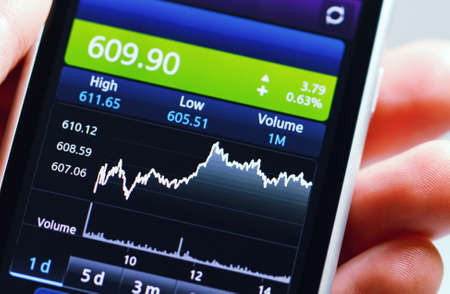 Stock diagram on the screen smartphone.
