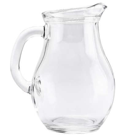 白い背景で隔離のガラスの水差し