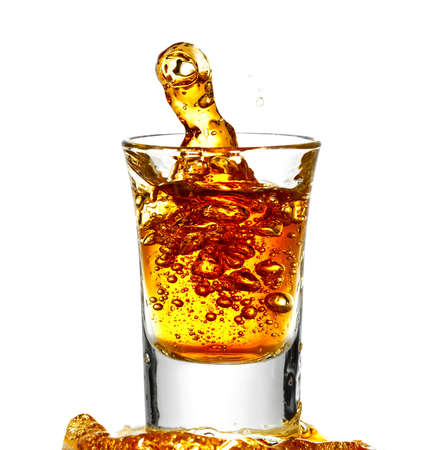 scotch whisky: Brandy isolated on white  Stock Photo
