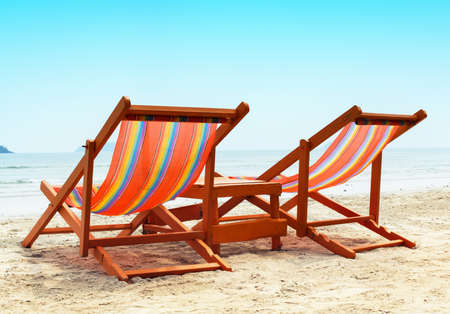 red chair: Two Beach Chairs Stock Photo