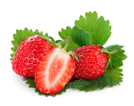Strawberries with leaves photo