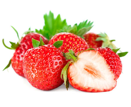 Beautiful ripe red fresh appetizing strawberries with leaves  Isolated on a white background  Studio macro photo