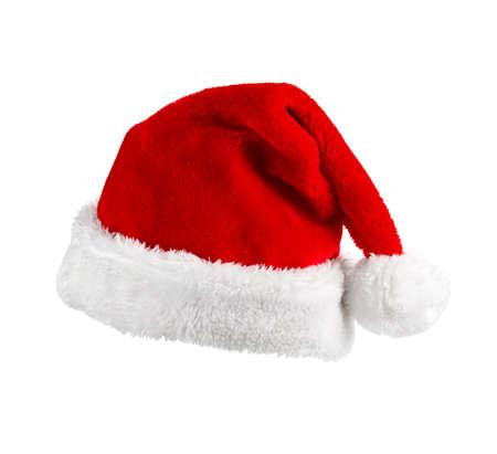 sombrero: Santa Claus sombrero rojo sobre el fondo blanco