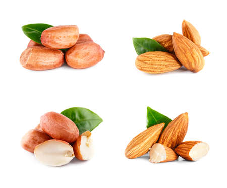 Almonds nuts and peanuts with green leaf. Set Isolated on a white background.