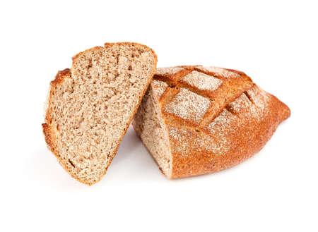 rye dark bread with bran isolated on white background
