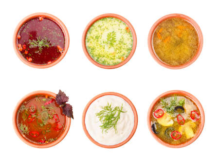 Mushroom, borsch, cream, kharcho soup and tasty sauce isolated on white. Top view. Set Stock Photo