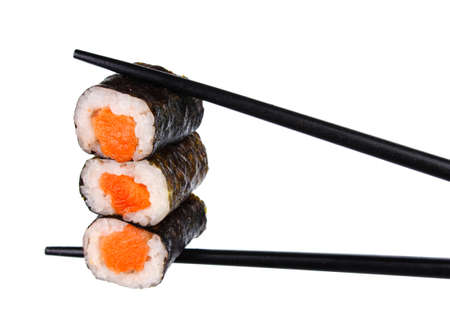 roll bar: sushi roll in chopsticks Isolated on white