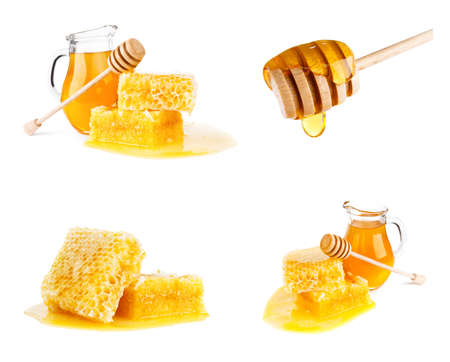 whie: Fresh honey with honeycomb on whie background