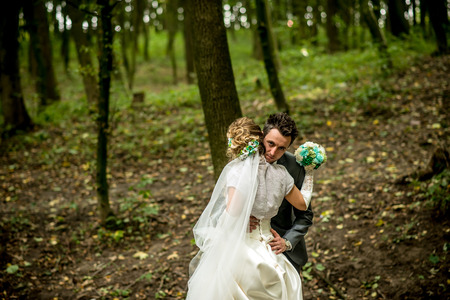newly married: newly married couple in the forest