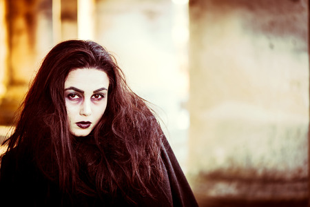 ghost woman: Girl with scary face painting