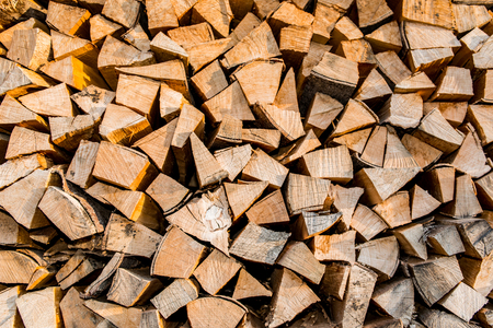 kindling: Dry firewood in a pile for furnace kindling, firewood texture