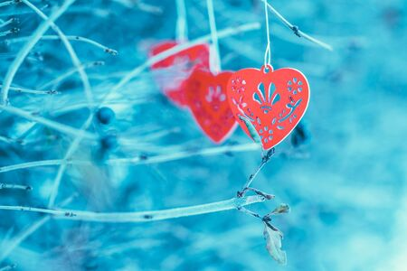 red wallpaper: Red wooden hearts on the branch, gift card, wallpaper