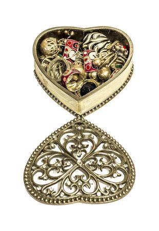 decoratiion: Vintage ornate heart shape Trinket box isolated on white Stock Photo