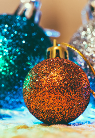 sackful: Christmas decoration with multicolor balloons on warm background Stock Photo