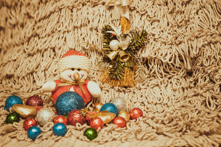 sackful: Christmas decoration with balloons on warm background with pretty snowman