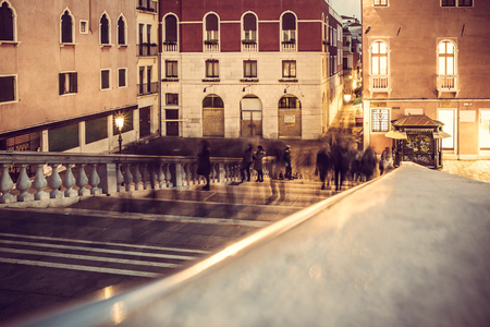urban scenes: urban scenes: shadow of walking motion, pedestrian in Venice, Italy
