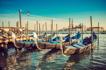italy background: Gondolas at the Piazza San Marco, Venice, Italy. Stock Photo