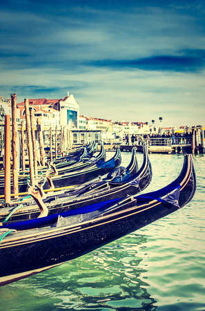 marco: Gondolas at the Piazza San Marco, Venice, Italy. Stock Photo