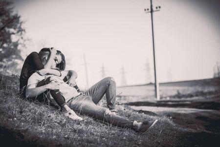 love hands: Girlfriend with her boyfriend outdoor in the forest