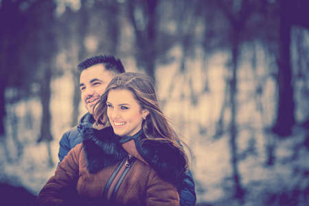 couple background: Pretty couple otdoor with nature on background Stock Photo