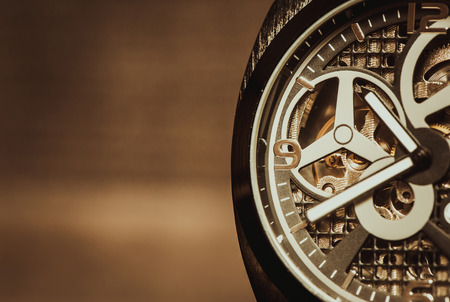 watch movement: Part of watch with mechanical movement, macro shot Stock Photo