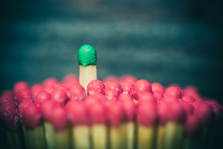 inspirations: One match standing out from the crowd, leadership, difference concept Stock Photo