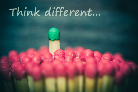 One match standing out from the crowd, leadership, difference concept Stock Photo