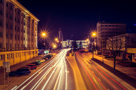 taillight: Evening photo of cityscape in Poland with long exposure Stock Photo