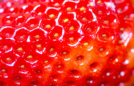 abstract food: Closeup of strawberry structure, macro shot