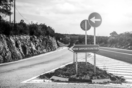 Conceptual road sign with place for your text