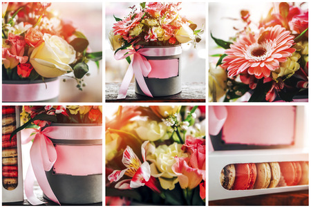Bouquet of flowers and macaroons in the box with place for your text, collage