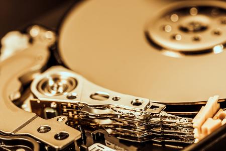 Close up shot of hard disc drive