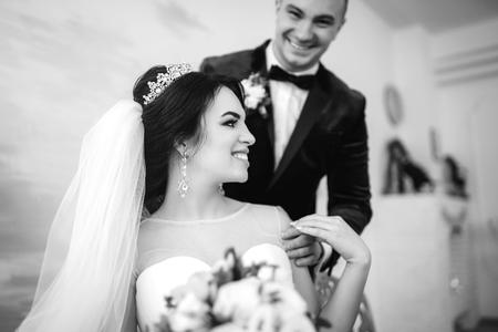 Pretty wedding couple  Stock Photo