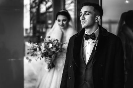 Pretty wedding couple outdoor