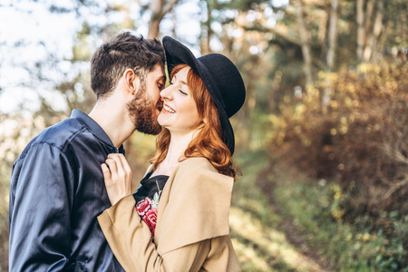Happy young romantic couple spend time together outdoor