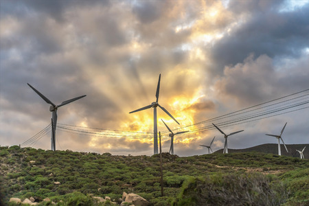 Landscape with turbine green energy generating electricity , windmills for electric power production