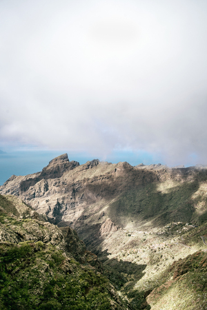 Foggy mountains with clouds on tenerife island, spain