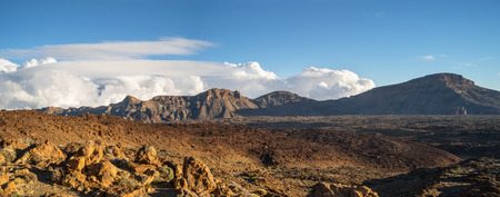 Panorama of mountain landscape with clouds on tenerife island