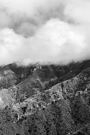 Landscape of foggy mountains in the morning, canarian islands, tenerife, spain Stock Photo