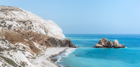 View of the blue sea with rocks and wild beaches