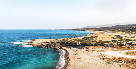 Panoramic view of the sea with coastline and beaches Stock Photo