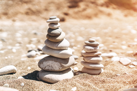 Stack of sea stones on the beach