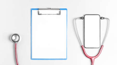 Flat lay photo of online medicine concept