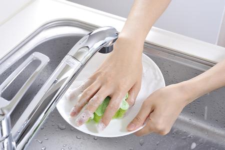 洗浄の皿 写真素材